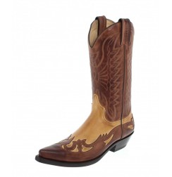 Beige and brown leather mexican cowboy boots