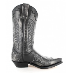 Black and silver leather mexican cowboy boots