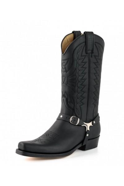 prix compétitif ec393 57182 Black leather mexican cowboy boots with bridles and rivets