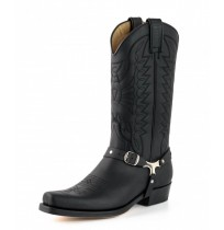Black leather mexican cowboy boots with bridles and rivets