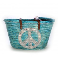Blue peace and love beach bag
