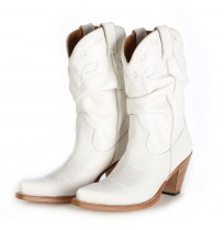 White leather cowboy boots for women
