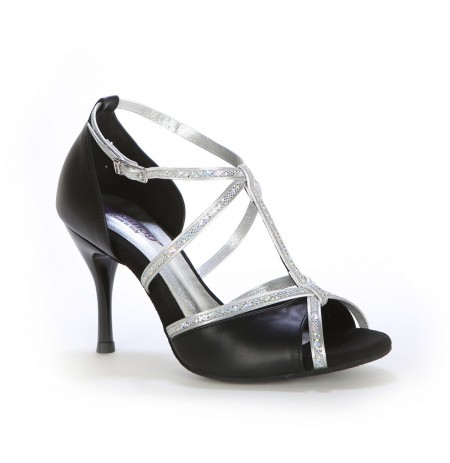Black elegant latin dance heels with rhinestones