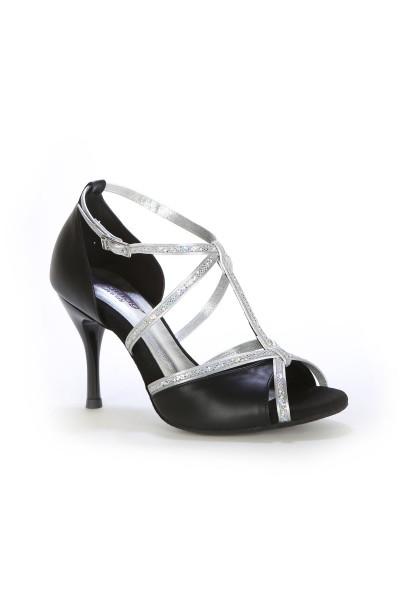 Black elegant latin dance heels with rhinestones