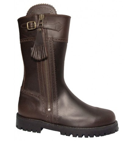 Brown leather hunting boots with a short upper