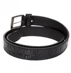 Black crocodile leather Belt