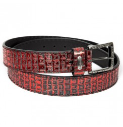 Red crocodile leather Belt