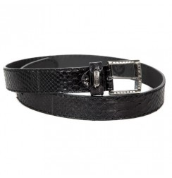 Black Genuine Snakeskin Belt