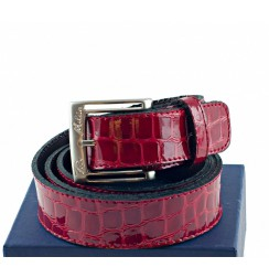 Red patent crocodile leather Belt