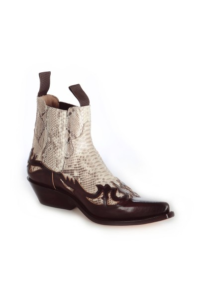 73995243f0e Real snakeskin and burgundy leather low cut cowboy boots WESTERN ...