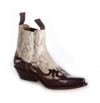 Burgundy leather and real snake cowboy ankle boots