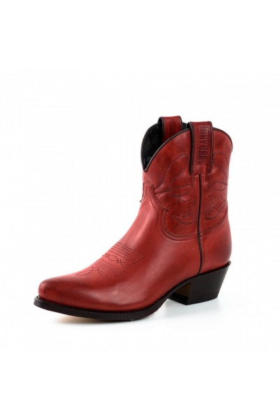 Red leather cowboy women ankle boots