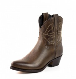 Brown leather cowboy women ankle boots