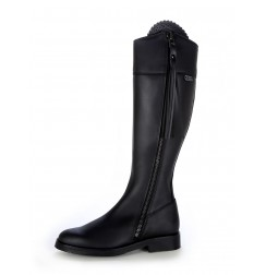 Made to measure black oiled leather riding boots