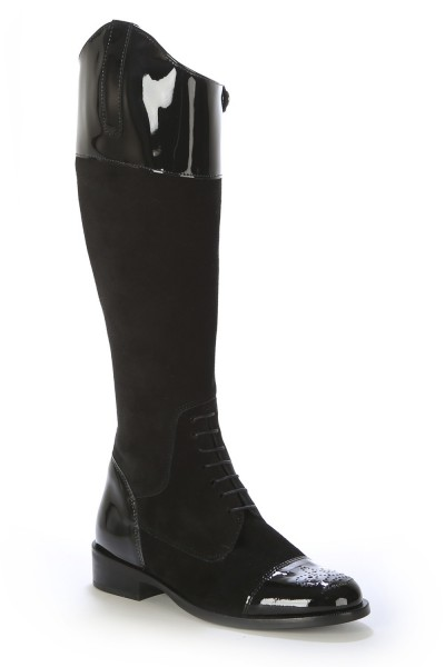 Black leather English riding style boots