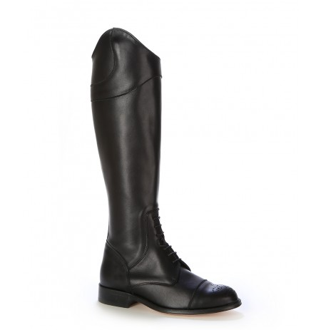 Black leather riding style boots with laces