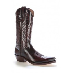 Made to measure burgundy glazed leather mexican cowboy boots