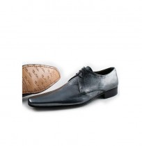 Grey leather pointed toe derby shoes for men