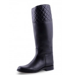 Elegant black leather riding style boots