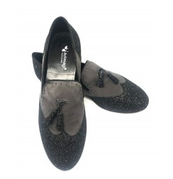 Elegant black & white men's leather dancing shoes