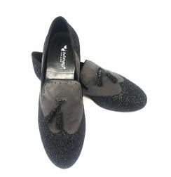 Elegant black & white men's leather dancing shoes