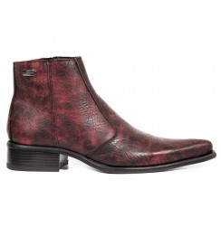 Burgundy crocodile varnished ankle boots for men