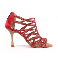Strappy glittery red dancing heels