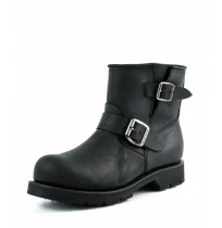 Black leather biker boots with toe padding