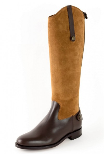 Two-tone leather equestrian boot