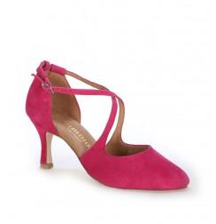 Fuchsia X-strap heels