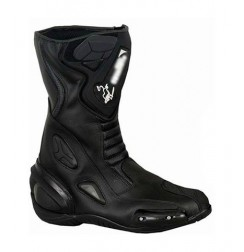 Black leather bike boots for motorbike pilots