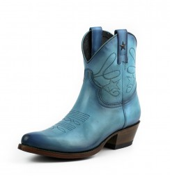Women's blue leather cowboy boots