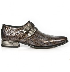 Brown copper loafers for men with steel heel