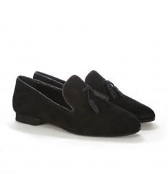 Elegant black tassel loafers for men