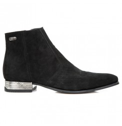 Elegant black suede ankle boots for men