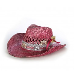 Pink straw summer hat