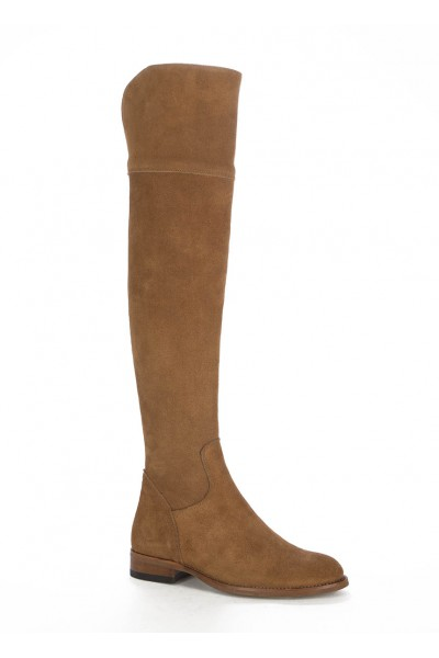Camel leather knee boots for women