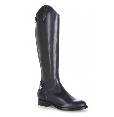 Navy blue leather riding boots style