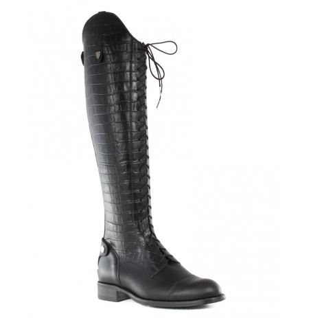 High leather boots with laces