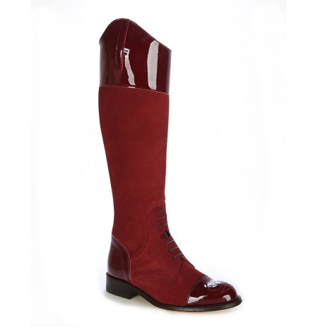 Burgundy suede boots for women