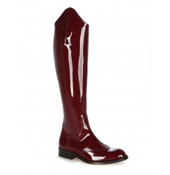 Burgundy patent leather riding style boots