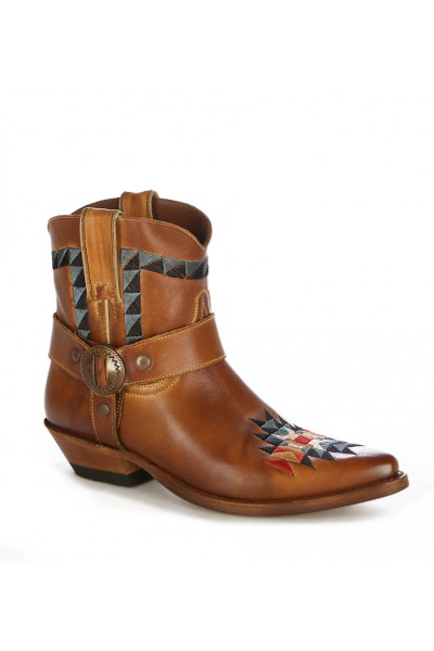 Camel leather cowboy ankle boots