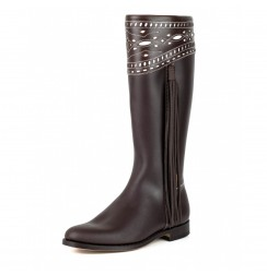Spanish brown leather riding boots for women