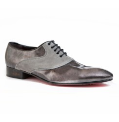 Elegant steel grey leather formal shoes for men