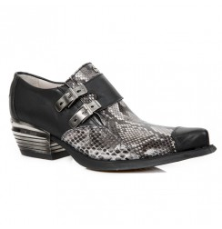 Snakeskin leather cowboy shoes for men