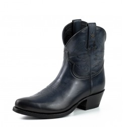 Women's navy leather cowboy ankle boots