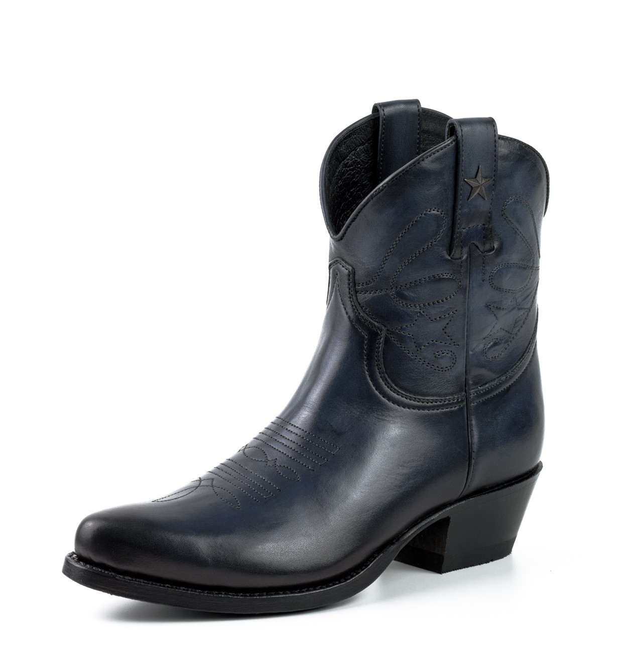 NAVY LEATHER COWBOY ANKLE BOOTS leather