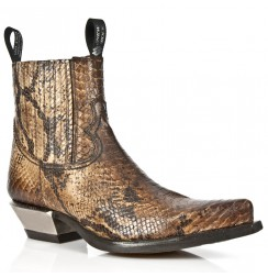 Snake leather cowboy ankle boots for men with steel heel