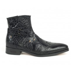 Black crocodile leather ankle boots for men