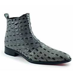 Grey coco leather ankle boots for men
